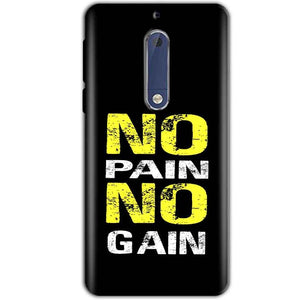 Nokia 5 Mobile Covers Cases No Pain No Gain Yellow Black - Lowest Price - Paybydaddy.com