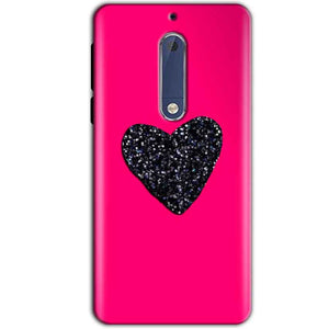 Nokia 5 Mobile Covers Cases Pink Glitter Heart - Lowest Price - Paybydaddy.com