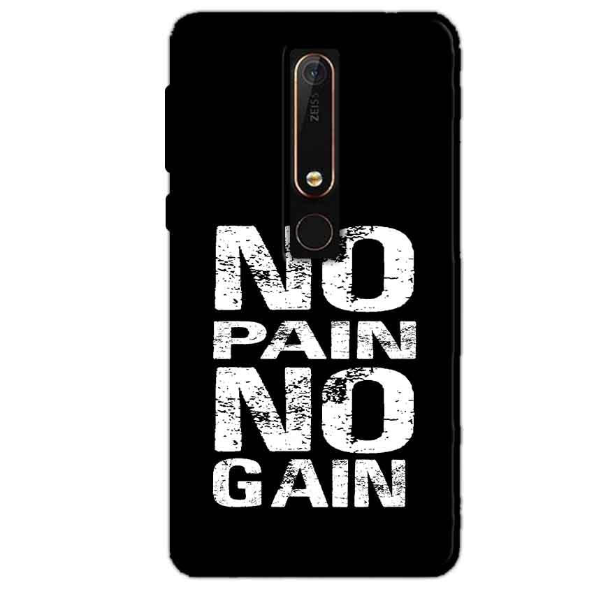 Nokia 6 2018 Mobile Covers Cases No Pain No Gain Black And White - Lowest Price - Paybydaddy.com