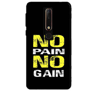Nokia 6 2018 Mobile Covers Cases No Pain No Gain Yellow Black - Lowest Price - Paybydaddy.com