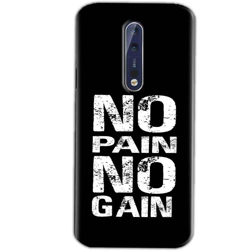 Nokia 8 Mobile Covers Cases No Pain No Gain Black And White - Lowest Price - Paybydaddy.com