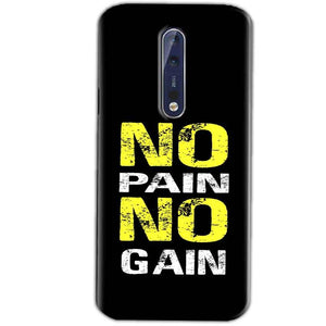 Nokia 8 Mobile Covers Cases No Pain No Gain Yellow Black - Lowest Price - Paybydaddy.com