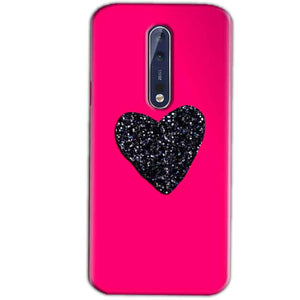 Nokia 8 Mobile Covers Cases Pink Glitter Heart - Lowest Price - Paybydaddy.com