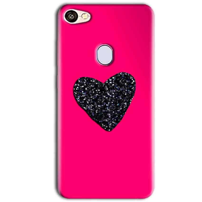 Oppo F5 Mobile Covers Cases Pink Glitter Heart - Lowest Price - Paybydaddy.com