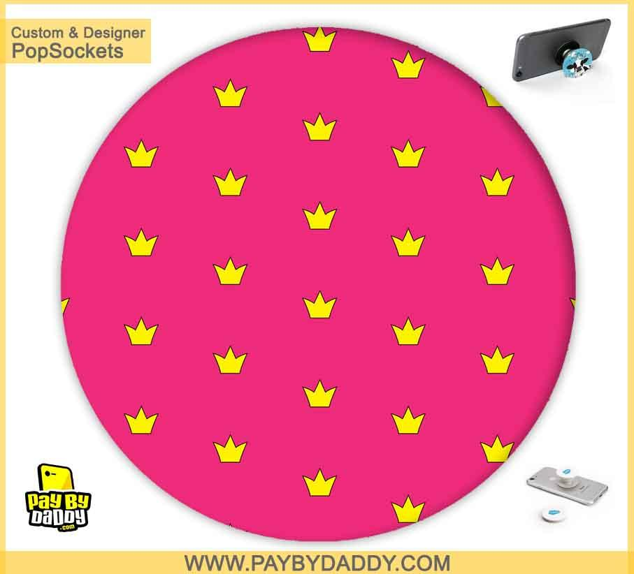 PopSockets Grip - Pink Yellow Crown  makes expanding device grips and mounts. Use them for gripping, propping, cord management, and just looking good. Use your PopSockets 50 % Discount On Sale | Free and Fast Shipping