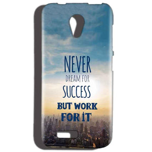 Reliance LYF Flame 2 Mobile Covers Cases Never Dreams For Success But Work For It Quote - Lowest Price - Paybydaddy.com