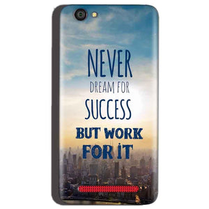 Reliance Lyf Flame 1 Mobile Covers Cases Never Dreams For Success But Work For It Quote - Lowest Price - Paybydaddy.com