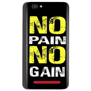 Reliance Lyf Flame 1 Mobile Covers Cases No Pain No Gain Yellow Black - Lowest Price - Paybydaddy.com