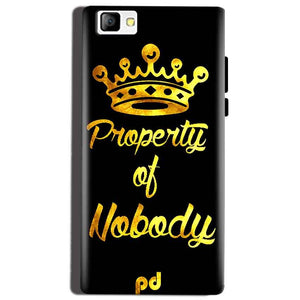 Reliance Lyf Flame 8 Mobile Covers Cases Property of nobody with Crown - Lowest Price - Paybydaddy.com