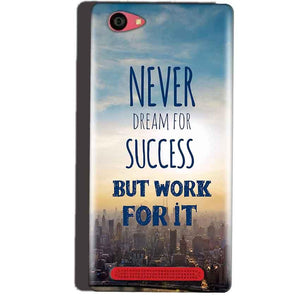 Reliance Lyf Wind 7 Mobile Covers Cases Never Dreams For Success But Work For It Quote - Lowest Price - Paybydaddy.com