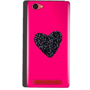 Reliance Lyf Wind 7 Mobile Covers Cases Pink Glitter Heart - Lowest Price - Paybydaddy.com
