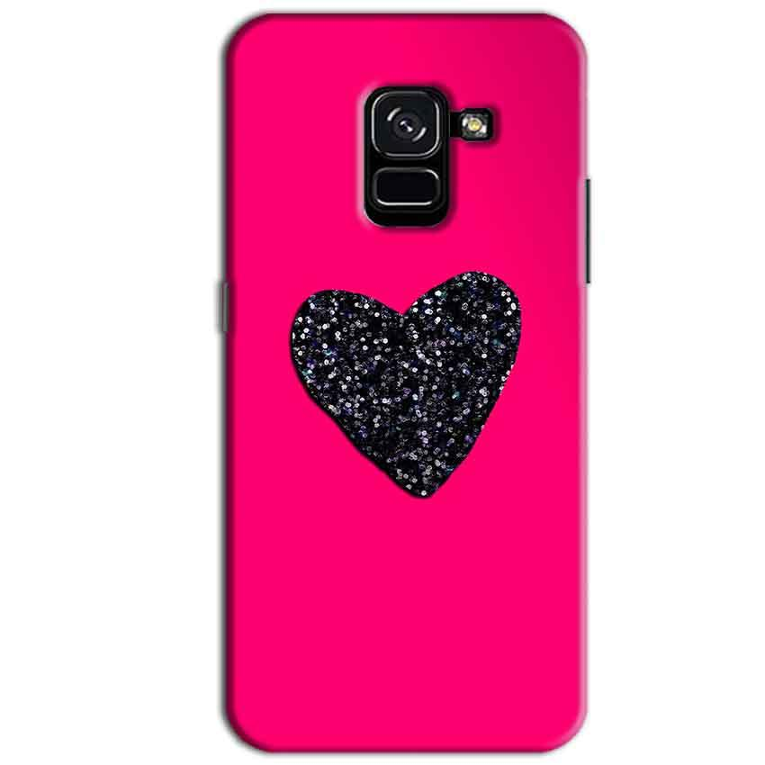 Samsung Galaxy A8 Plus Mobile Covers Cases Pink Glitter Heart - Lowest Price - Paybydaddy.com