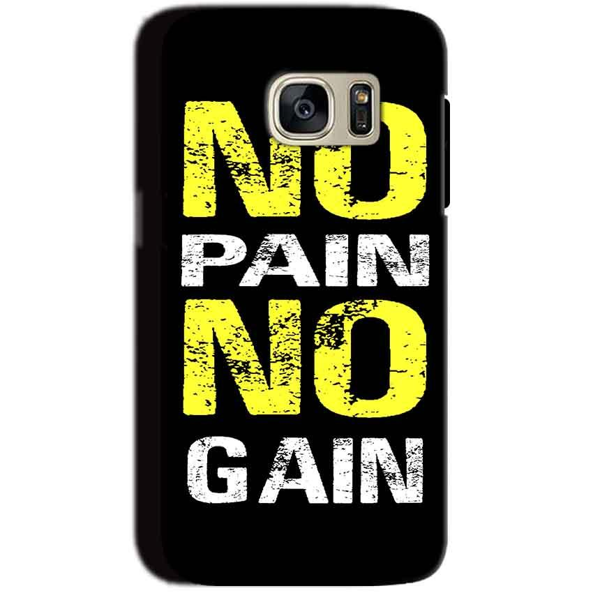 Samsung Galaxy S7 Mobile Covers Cases No Pain No Gain Yellow Black - Lowest Price - Paybydaddy.com
