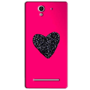 Sony Xperia C3 Mobile Covers Cases Pink Glitter Heart - Lowest Price - Paybydaddy.com