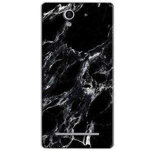 Sony Xperia C3 Mobile Covers Cases Pure Black Marble Texture - Lowest Price - Paybydaddy.com