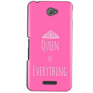 Sony Xperia E4 Mobile Covers Cases Queen Of Everything Pink White - Lowest Price - Paybydaddy.com