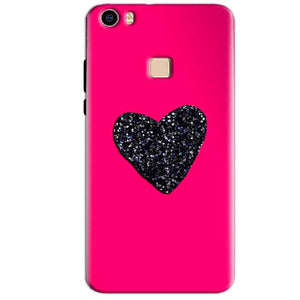 Vivo V3 Max Mobile Covers Cases Pink Glitter Heart - Lowest Price - Paybydaddy.com