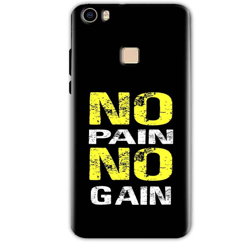 Vivo V3 Mobile Covers Cases No Pain No Gain Yellow Black - Lowest Price - Paybydaddy.com