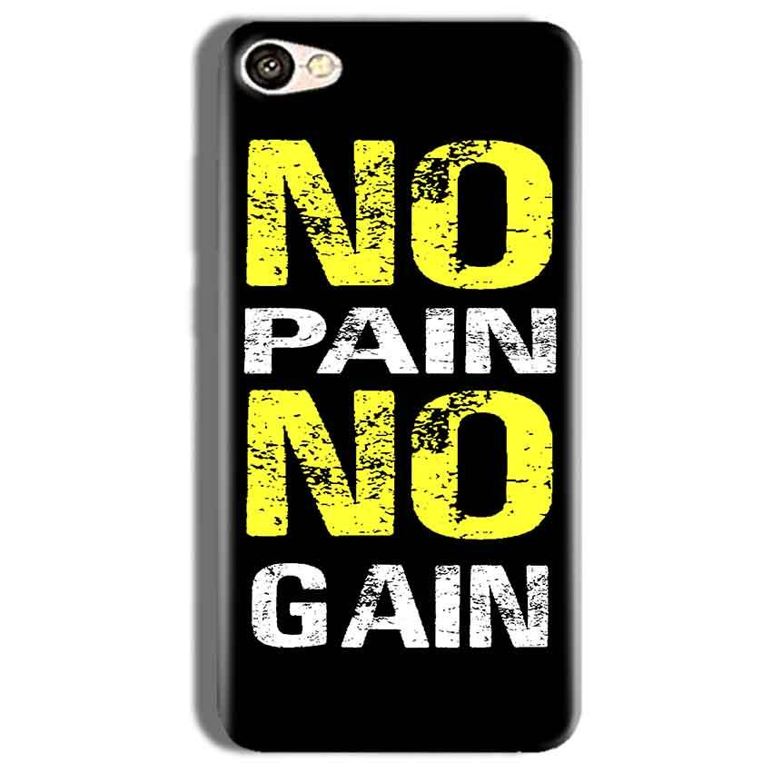 Vivo Y66 Mobile Covers Cases No Pain No Gain Yellow Black - Lowest Price - Paybydaddy.com