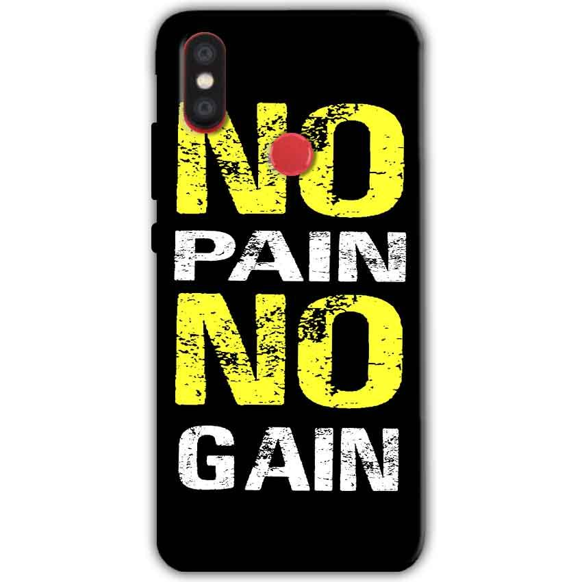 Xiaomi Mi A2 Mi 6X Mobile Covers Cases No Pain No Gain Yellow Black - Lowest Price - Paybydaddy.com