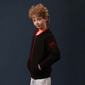 Child's Zip Hoodie - Black & Red