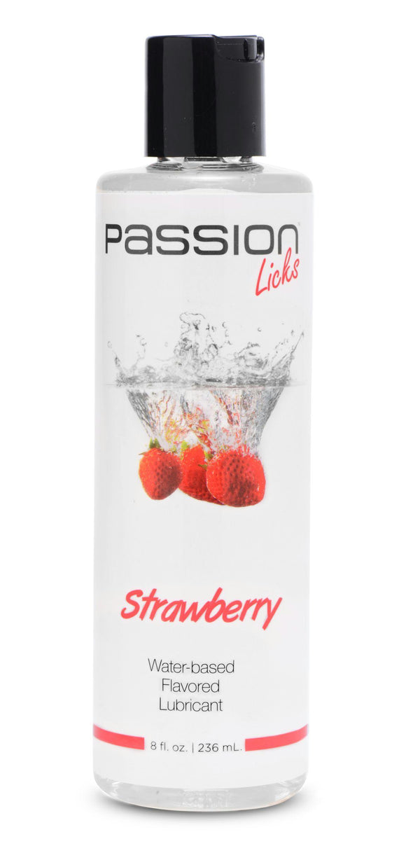 Passion Licks Strawberry Water Based Flavored Lubricant - 8 oz