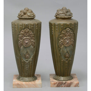 Pair of French Art Deco Style Antique Vases with Marble Base