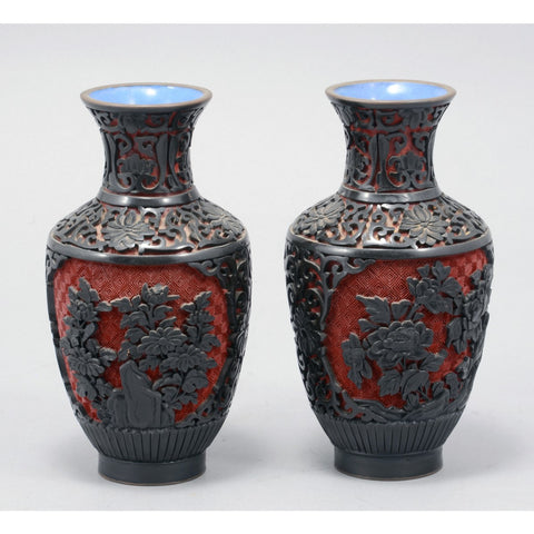 Pair of Antique Vintage Chinese Lacquer ware Vases