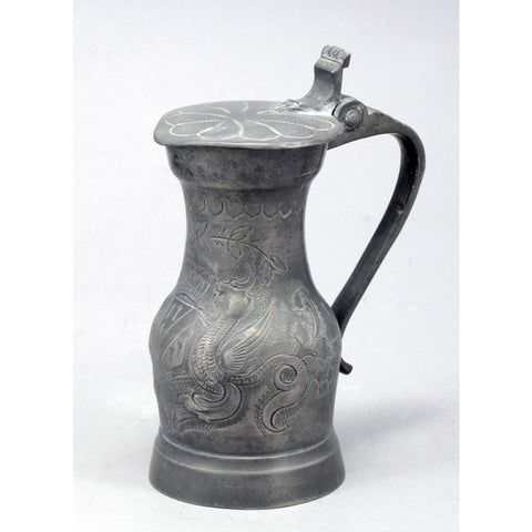 Antique Pewter Jug Etched in the Form of Dragons and a Coat of Arms