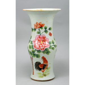 Chinese Famille Antique Rose Vase, c. 1900 - Depicting a rooster and flowers