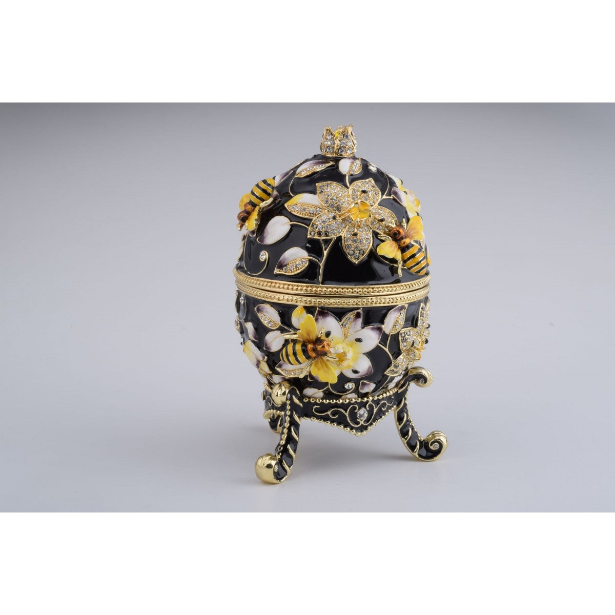 Black Faberge Style Egg Decorated with Bees and Flowers Trinket Box by Keren Kopal