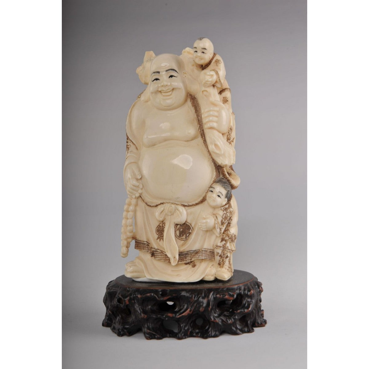 Mammoth Ivory- Buddha with two Kids