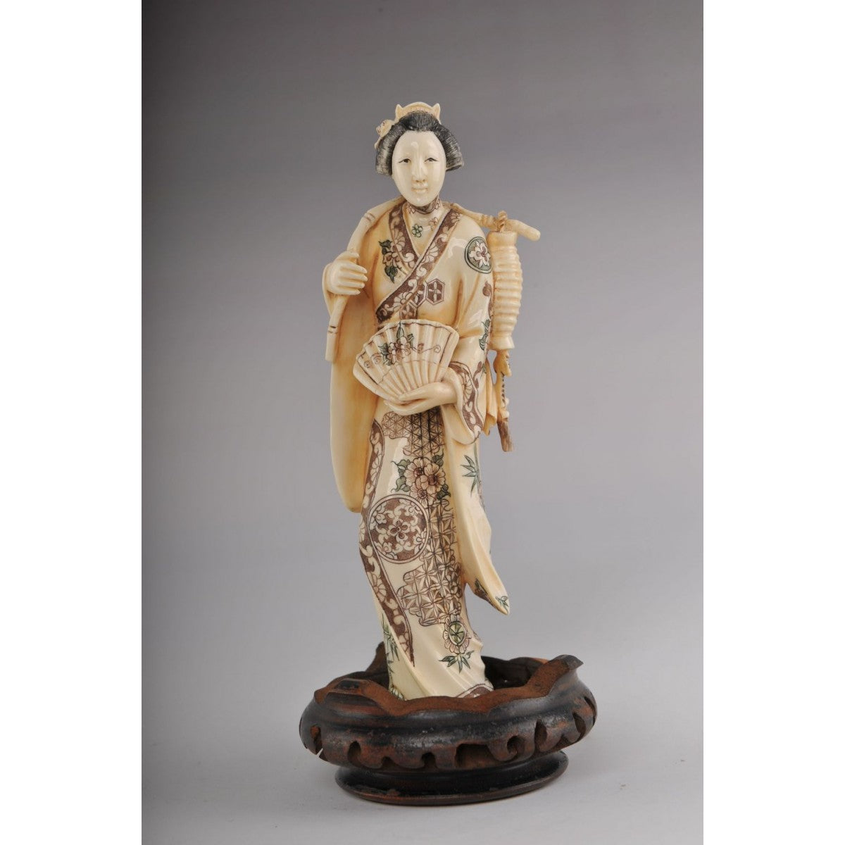 Mammoth Ivory Okimono- Beautiful Geisha