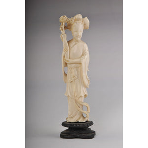 Mammoth ivory- Japanese Woman Holding a Vase of Roses