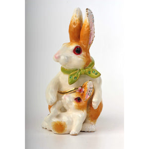 Mother & Baby Rabbits With Green Scarf Faberge Styled Trinket Box Handmade by Keren Kopal