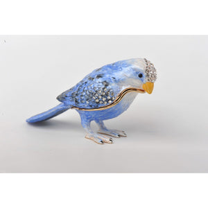 Valentine's Blue Bird Trinket Box Decorated Swarovski by Keren Kopal