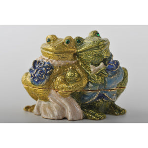 Frogs on their Wedding Day trinket box