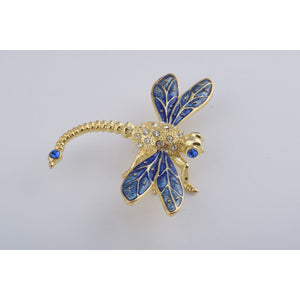Golden Blue Dragonfly Trinket Box by Keren Kopal