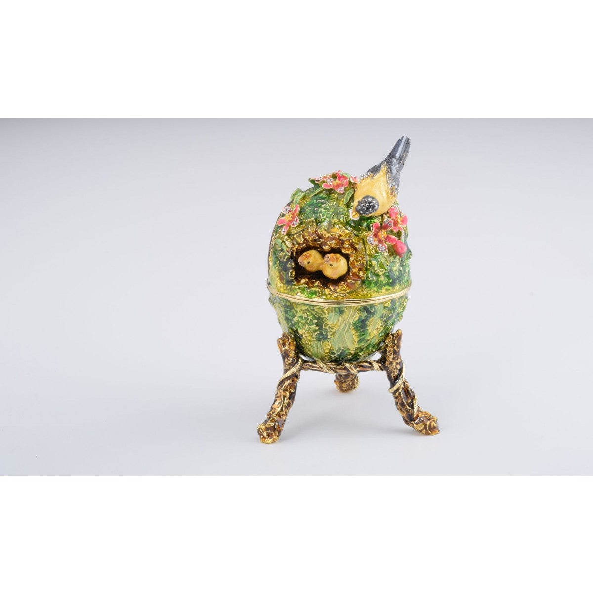 Bird Nest Faberge Style Egg Trinket Box by Keren Kopal