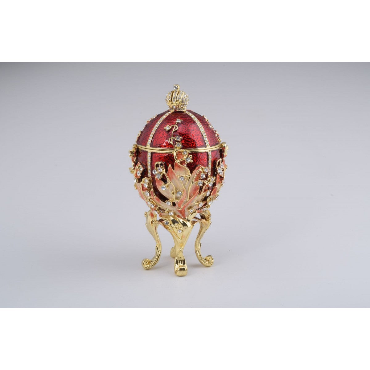 Red Faberge Style Egg Trinket Box by Keren Kopal