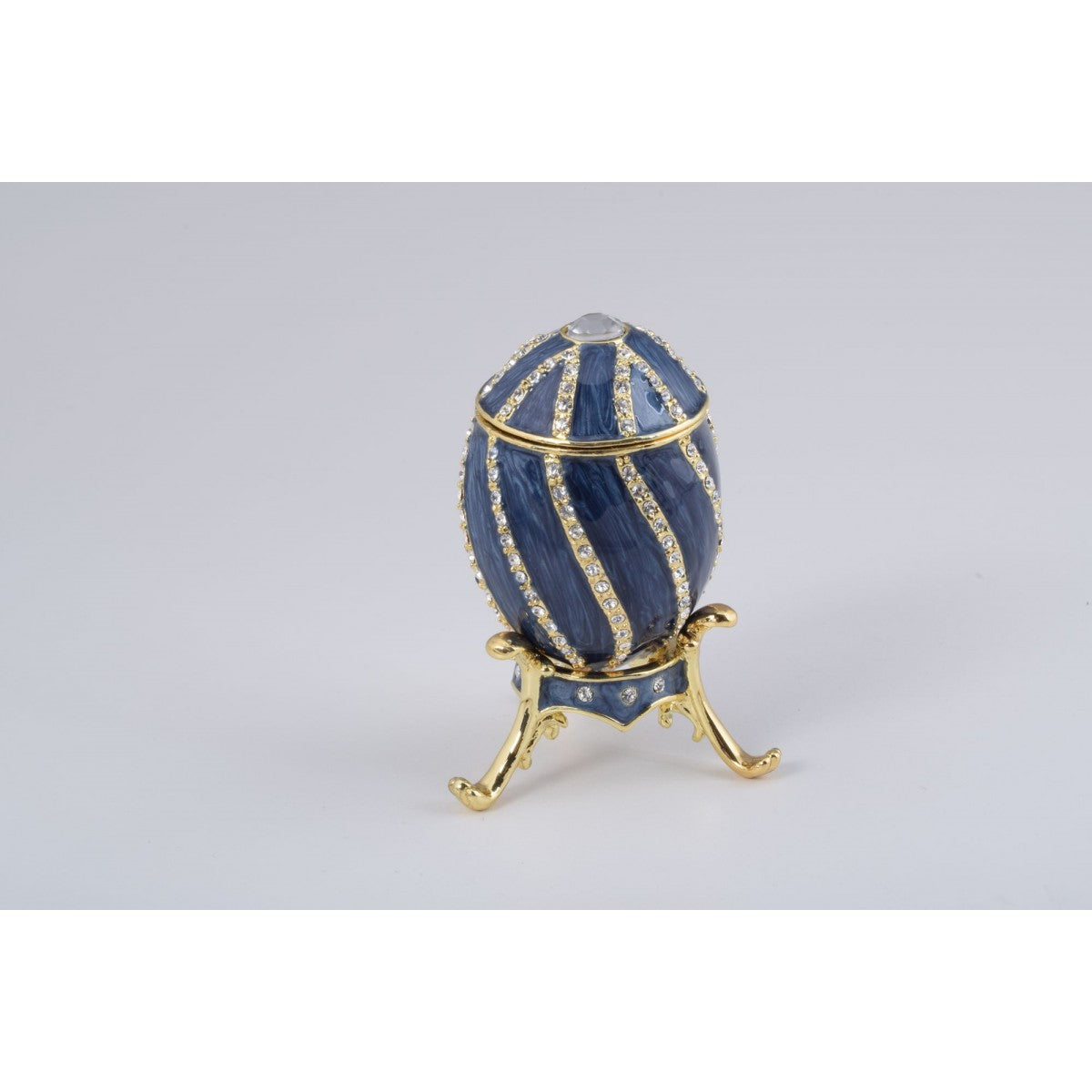 Grey Faberge Style Egg Trinket Box by Keren Kopal