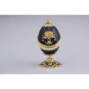 Golden Black Faberge Styled Egg Trinket Box by Keren Kopal
