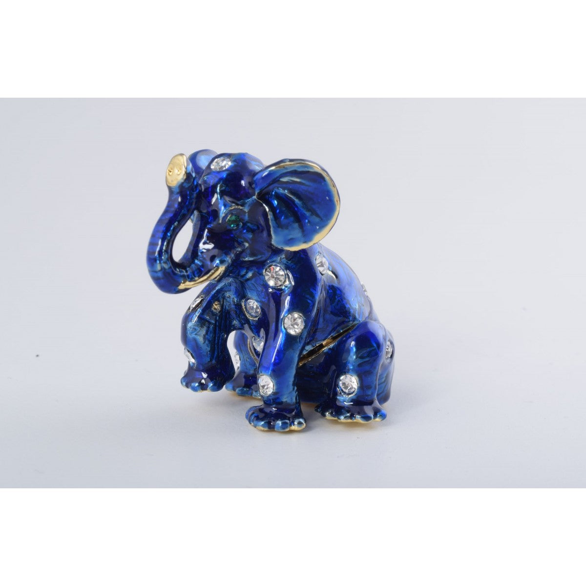 Sitting Blue Elephant Trinket Box by Keren Kopal