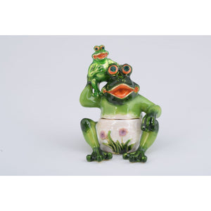 Mama and Baby Frog Trinket Box by Keren Kopal