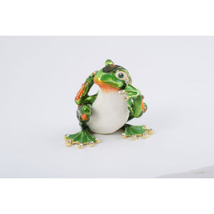 Green Frog Hear No Evil Trinket Box by Keren Kopal