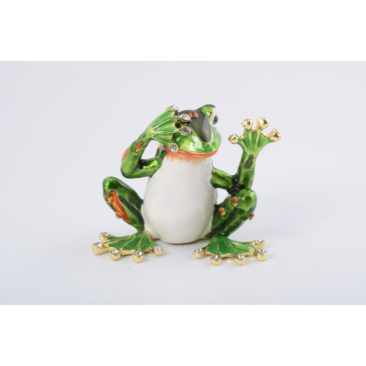 Green Frog See No Evil Trinket Box by Keren Kopal
