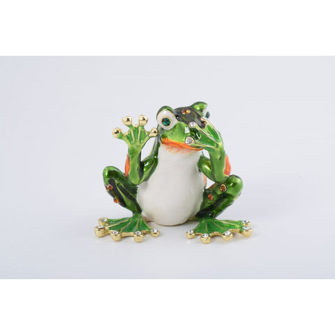 Green Frog Speak No Evil Trinket Box by Keren Kopal