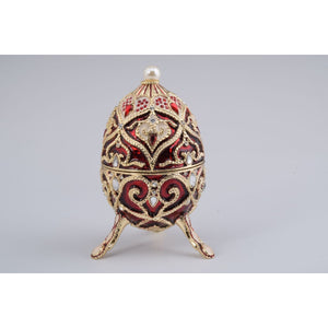 Red Faberge Styled Egg Trinket Box by Keren Kopal