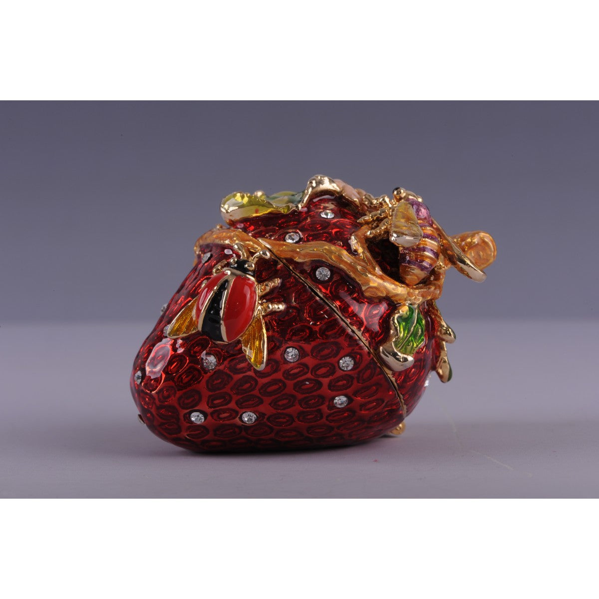Valentine's Day Strawberry with a Bee and a Beetle Trinket Box by Keren Kopal