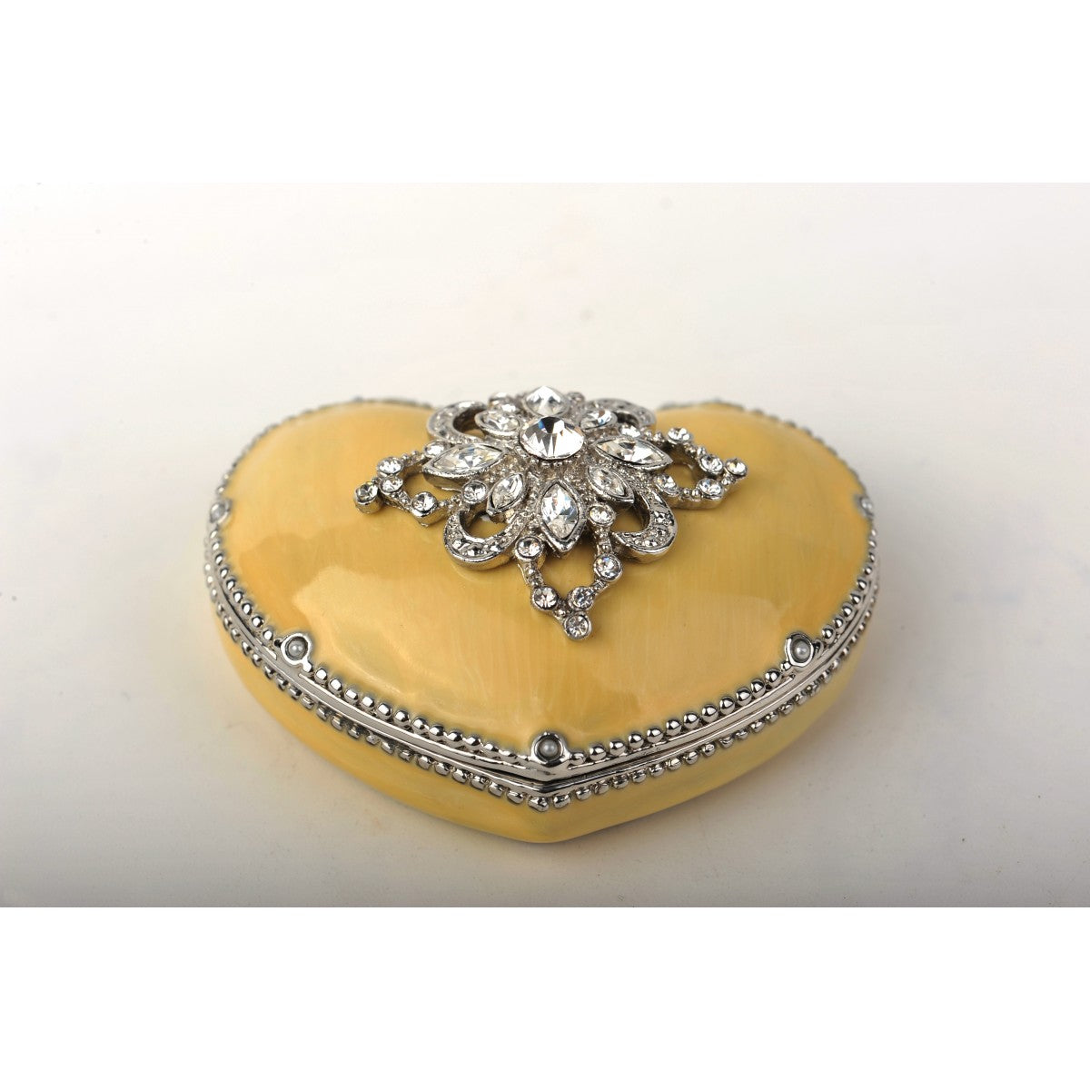 Decorated Swarovski Yellow Valentine's Heart Trinket Box by Keren Kopal